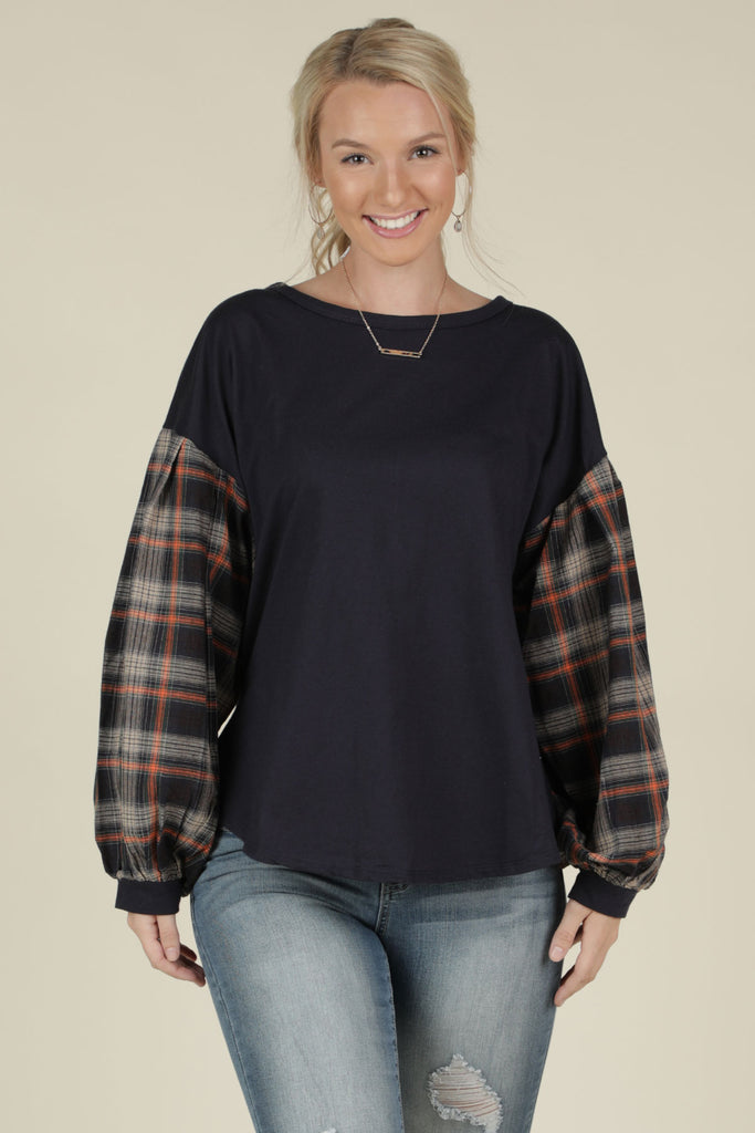 Mad For Plaid- Puff Sleeve Top - Ty Alexander's