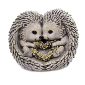 Home & Garden PUDGY HEDGEHOG LOVE STATUE Polyresin Flower Heart 12336