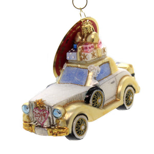 Christopher Radko WEDDING BLISS CHARIOT Ornament Car Limo Bride Groom 1020040
