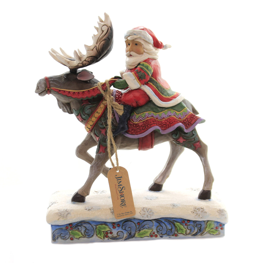 Jim Shore MERRY CHRIST-MOOSE Polyresin Santa Riding Moose 6004133
