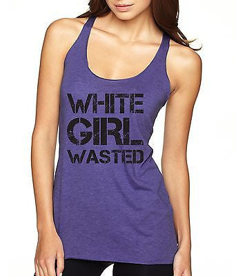 White Girl Wasted Black Print Women's Triblend Tanktop - ALLNTRENDSHOP - 5