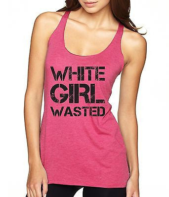 White Girl Wasted Black Print Women's Triblend Tanktop - ALLNTRENDSHOP - 3