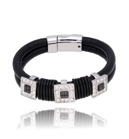 Black and Silver Bracelet with Transparent Glass Crystals BP0814