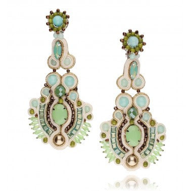 Aquamarine, Mint, Brown, Green and Beige Statement Clip on Earrings with Natural Stones, Glass Crystals and Beads KMS0523