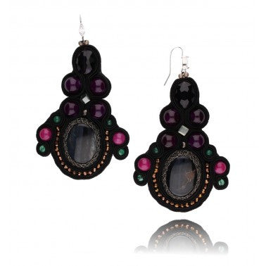 Black, Pink, Purple and Green Statement Earrings with Natural Stones, Glass Crystals and Beads KMS0584