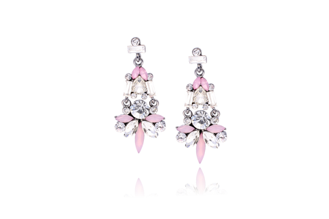 Pink, Transparent and Milk Earrings with Acrylic Crystals KSS0101