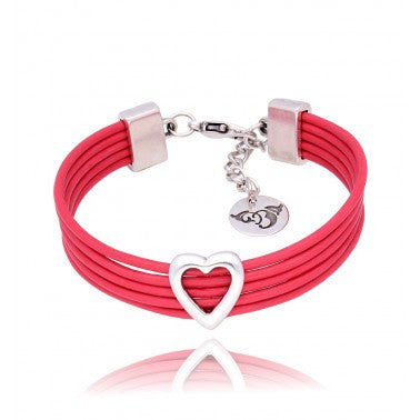 Red Bracelet with Silver Heart BIL5637