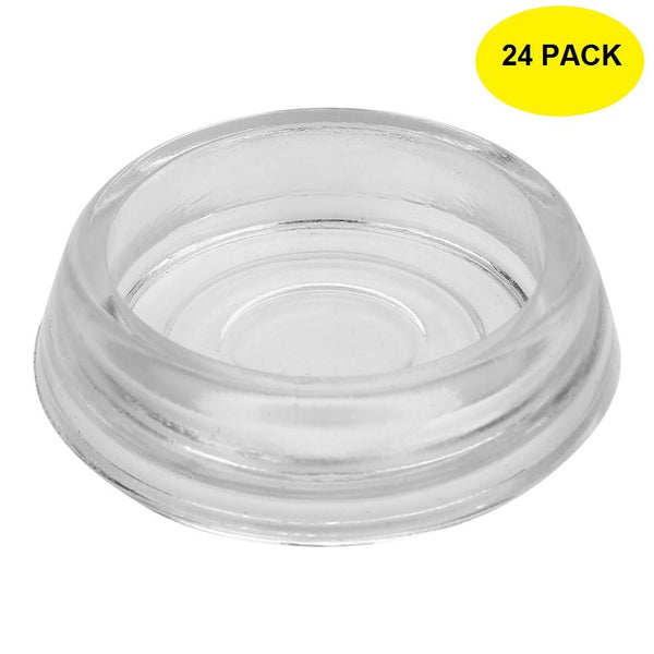 3 Inch Dia. 24-Pack Clear Glass Furniture Coasters / Caster Cups by A29