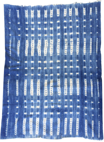 Throw - African indigo with thin gold thread detail