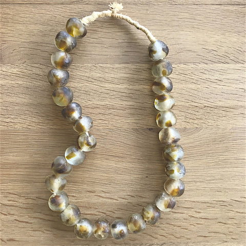 Large African Sea Glass Beads - Amber