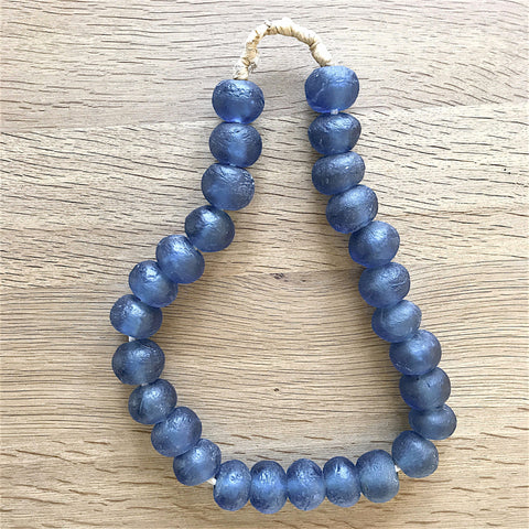 Large African Sea Glass Beads - Midnight Blue