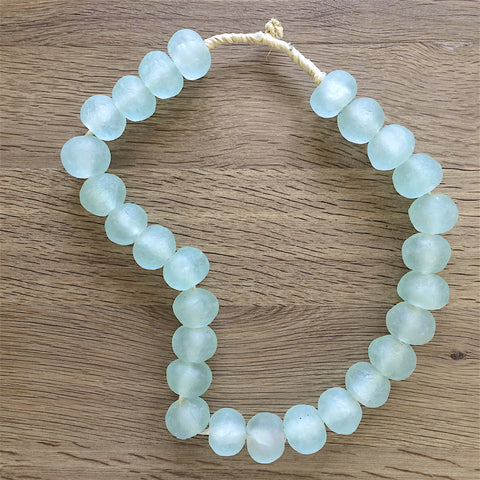 Large African Sea Glass Beads - Sea Green