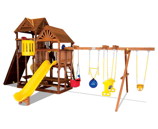 King Kong Clubhouse Quarter Turned Base Pkg II w/ Dual Picnic Tables & Wood Roofs (90M)