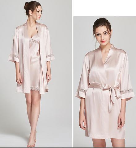 100% Silk Kimono Bathrobe Blush Pink Mid Length Luxury Sleepwear