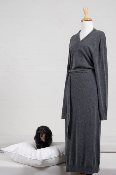 Dark Grey Gray Charcoal 100% Cashmere Ladies Full Length Bathrobe Robe Luxury Sleepwear