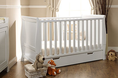 LINCOLN SLEIGH COT BED - White/County Pine/Walnut - Childrens Funky Furniture - 1