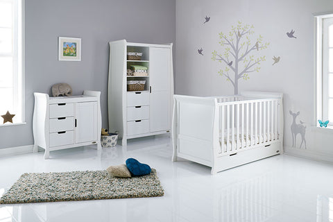 Stamford Classic COT BED 3 PIECE ROOM SET White/Taupe Grey/Warm Grey