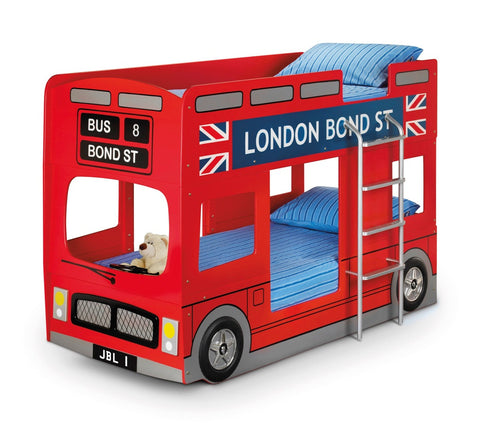 Julian Bowen London Bus Bunk Bed Bundle with 2 Mattresses - Childrens Funky Furniture