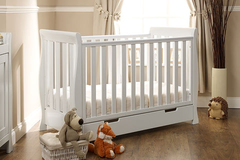 LINCOLN MINI SLEIGH COT BED in White, Country Pine and Walnut - Childrens Funky Furniture - 1