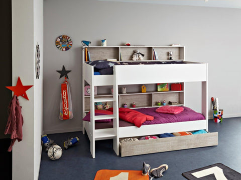 Parisot Tam Tam Bunk Bed - White and Loft Grey - Childrens Funky Furniture - 1