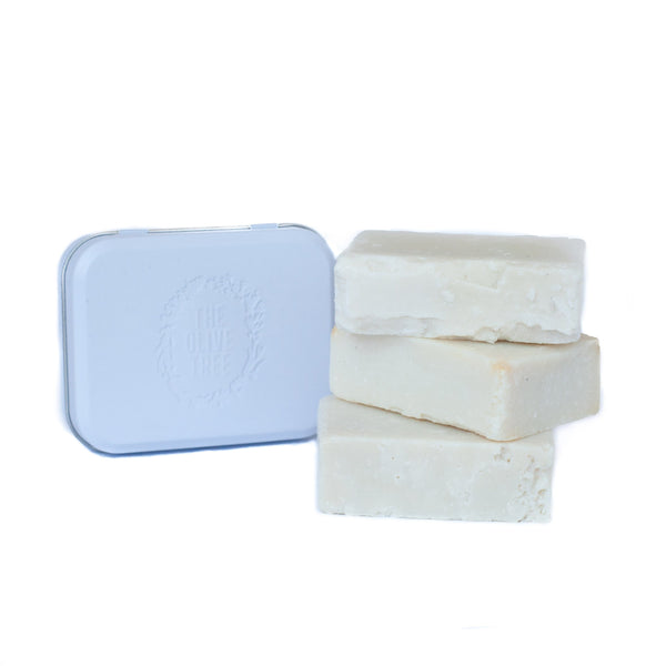 natural handmade soap with travel soap tin