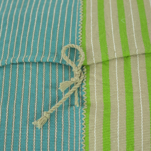Highlands Stripe Pillow II tie closure on back