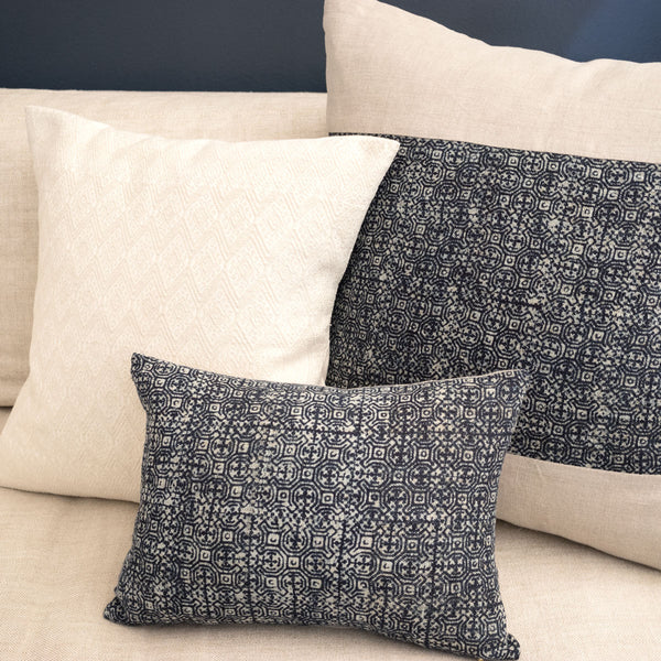 Indigo Batik Pillows on sofa
