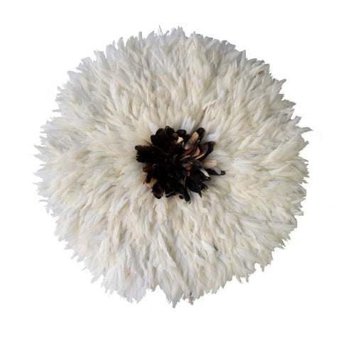 Large Juju Hat in White with Dark Brown Center