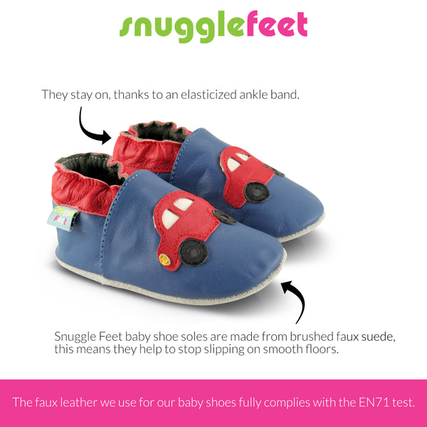 Red Cars Faux Leather Baby Shoes