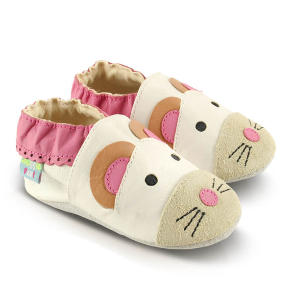 Cute Mouse Soft Leather Baby Shoes | Side View