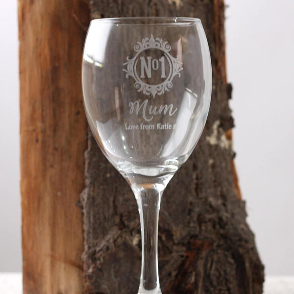 'No 1 Mum' Monogram Personalised Engraved Glass | Wine | Tumbler | Pint | Flute