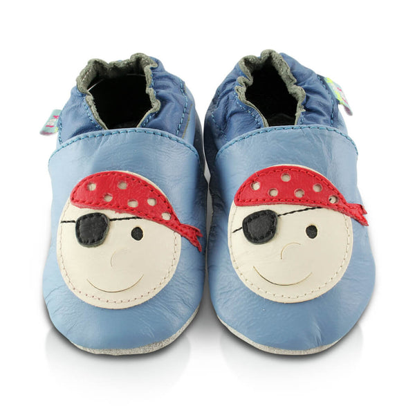 Pirate Soft Leather Baby Shoes | Front View | Boys | Blue