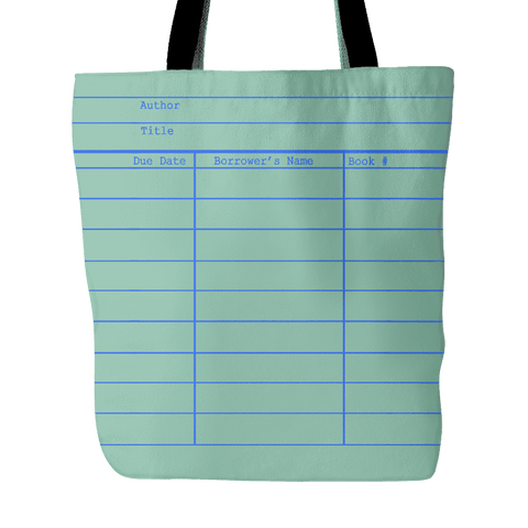 Library Card Tote, Green - Gifts For Reading Addicts