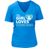 This girls loves reading - V-neck - Gifts For Reading Addicts