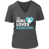 This girl loves reading books V-neck - Gifts For Reading Addicts