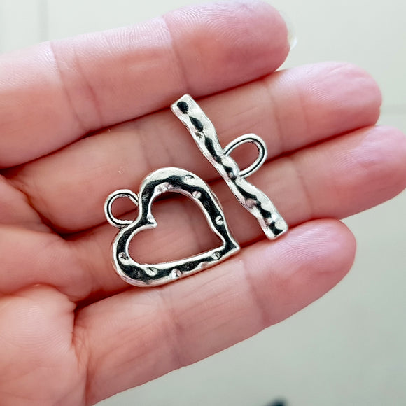 Bright Silver Large Heart Toggle Clasp - Jewellery Making (F-BM009/TC),  Kalitheo BeadsNWire,