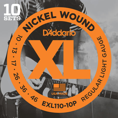 10 Pack D'Addario EXL110 Nickel Wound, Regular Light, 10-46 (EXL110-10P)