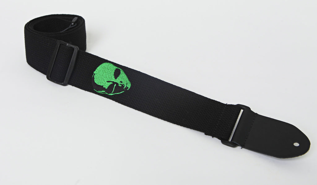 "Henry Heller HCOT2EAL-BLK 2"" Black With Green Alien Head Embroidered Cotton Guitar Strap"