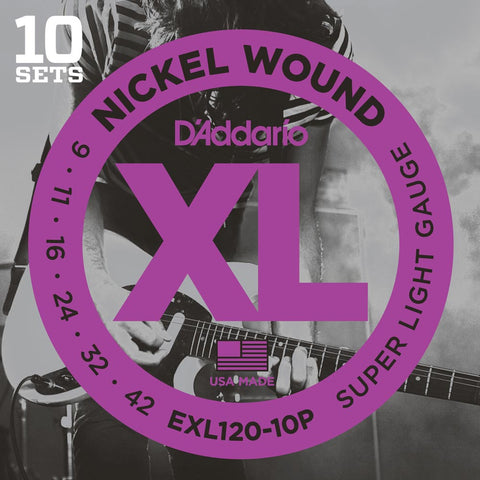 10 Pack D'Addario EXL120 Nickel Wound, Super Light, 9-42 (EXL120-10P)