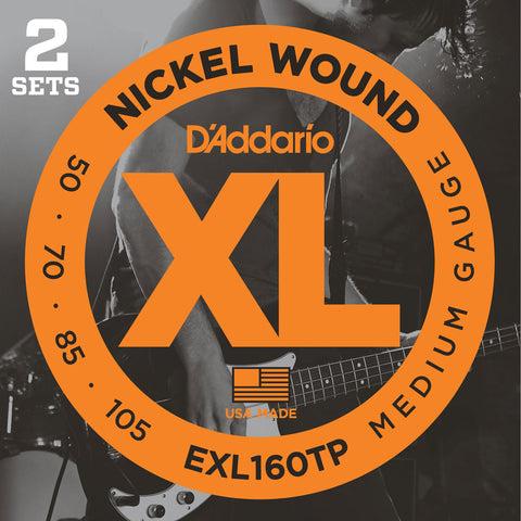 2 Pack D'Addario EXL160TP Nickel Wound Medium 50-105 Long Scale Bass Guitar Strings