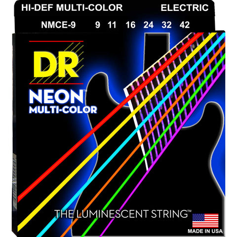DR Strings NMCE-9 Neon Hi-Def Multicolor Light 9-42 Electric Guitar Strings