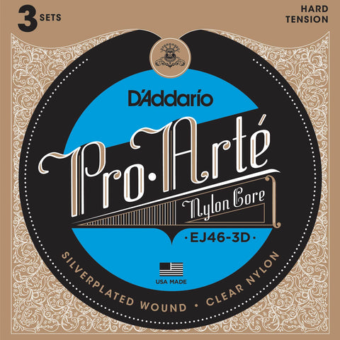 3 Pack D'Addario EJ46 Pro Arte Nylon, Hard Tension, 28.5-44, Classical Guitar Strings (EJ46-3D)