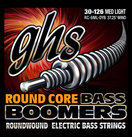 GHS 6-String Round Core Nickel Plated Boomers Medium Light 30-126 Bass Guitar Strings (RC-6ML-DYB)