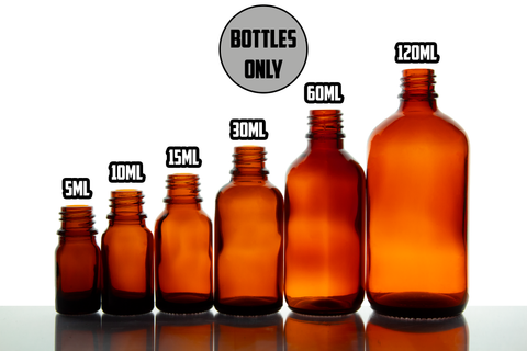 Amber Glass Euro Round BOTTLES ONLY 18mm- (Varied Count)