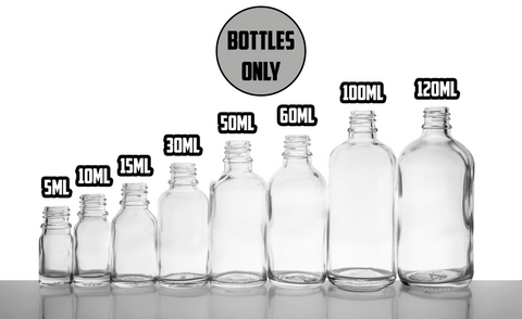 Clear Glass Euro Round BOTTLES ONLY 18mm- (Varied Count)