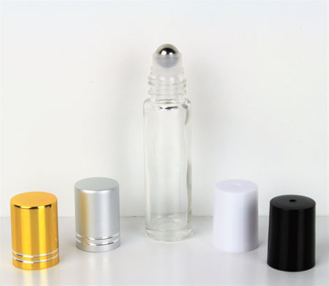 10ml Clear Roll-On Essential Oil Bottle w/ Cap & SS Roller (150 Count Bag)