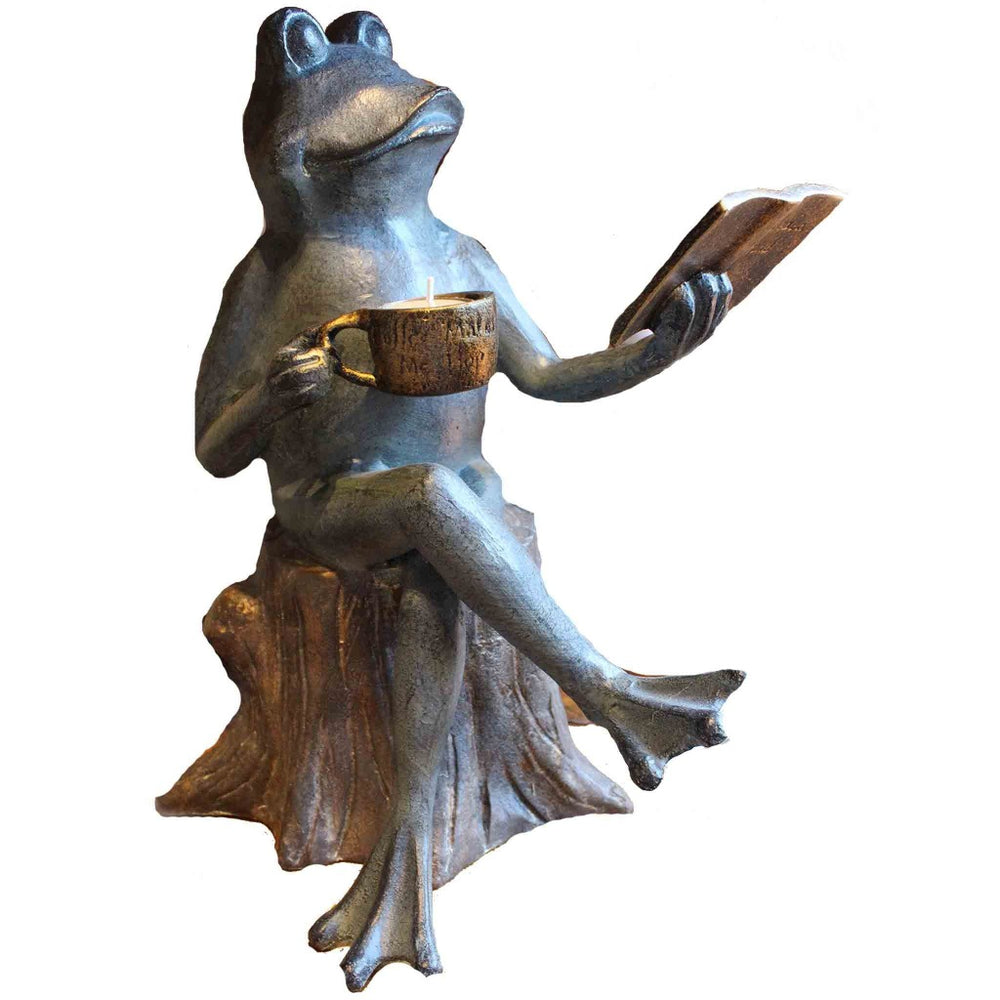 Metal Joy Of Reading Frog Garden Sculpture - Candlestock.com