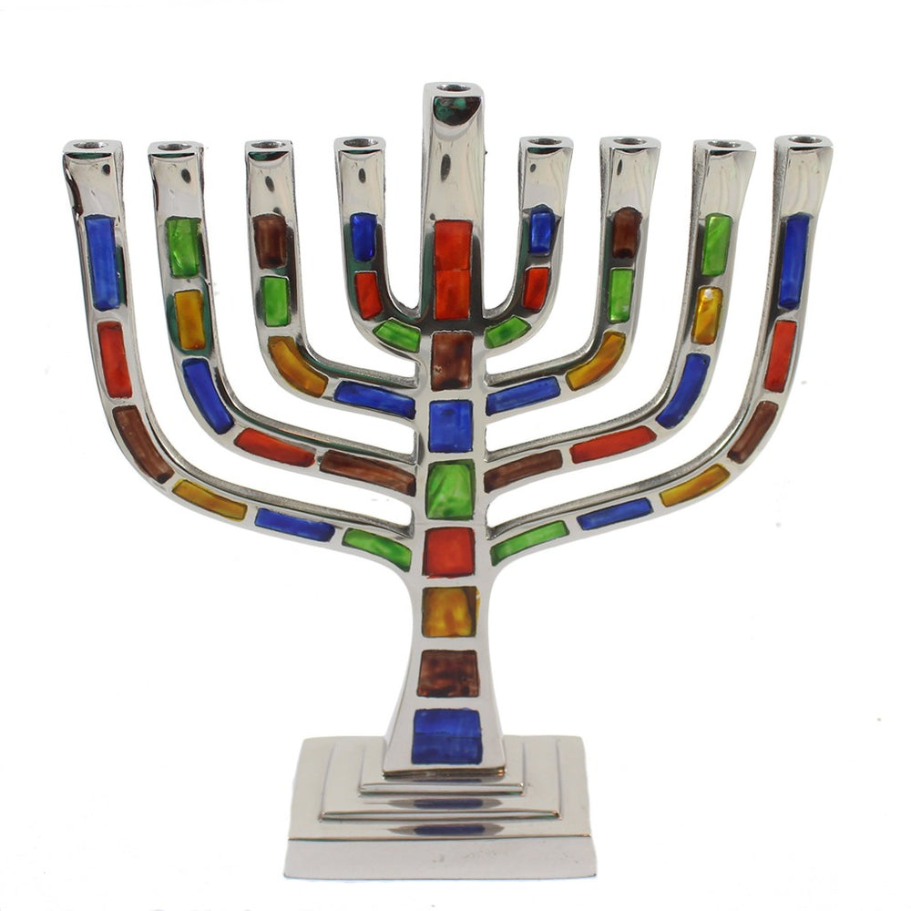 Multi Colored Jewel Mosaic With Silver Menorah - Candlestock.com