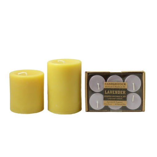 100% pure beeswax candles and all natural essential oil fragranced Lavender tea light candles gift set. Candle gift sets - Candlestock.com