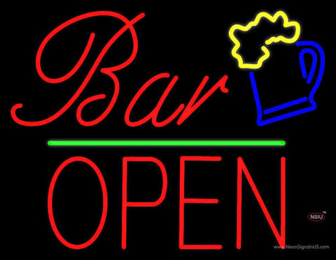Bar Block Open Green Line Real Neon Glass Tube Neon Sign